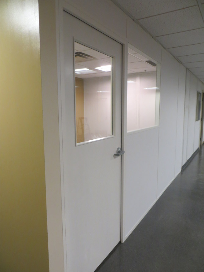 Colormatch example of white office framing and wall panels