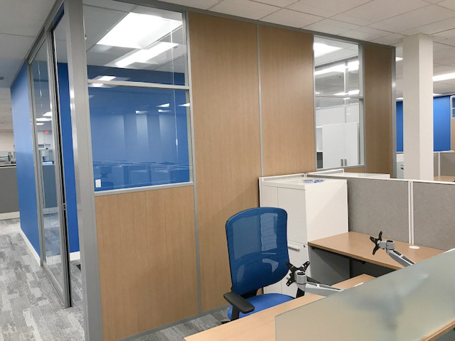 Demountable Wall Office with Laminate Wall Panels and Glass Panels