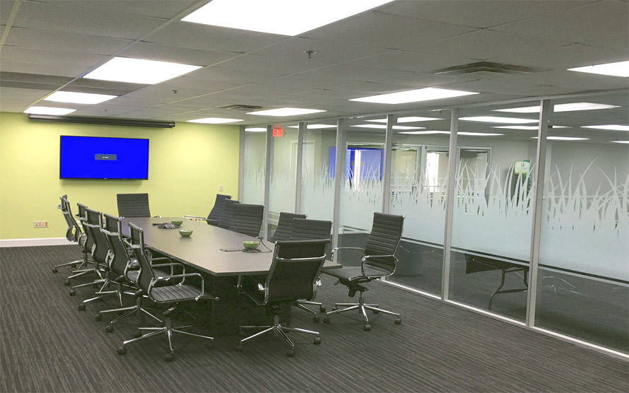 Glass Conference Room walls Flex Series with decorative window film