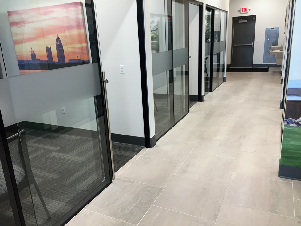 Glass Wall Offices - Flex Series with Black Frame Color