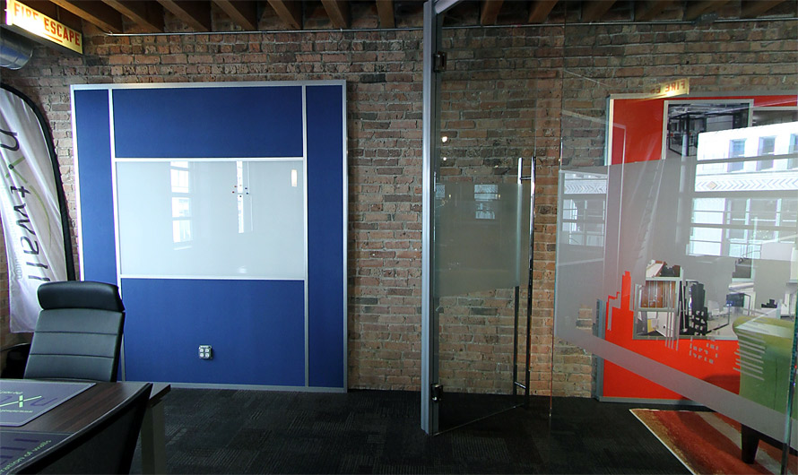 Cloth Fabric Wrapped Wall Panel with Integrated Whiteboard and Power