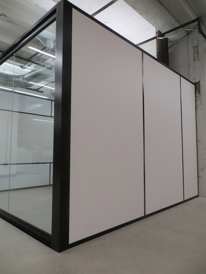 Solid Vinyl-wrapped Gypsum walls with Freestanding View Series Glass Front
