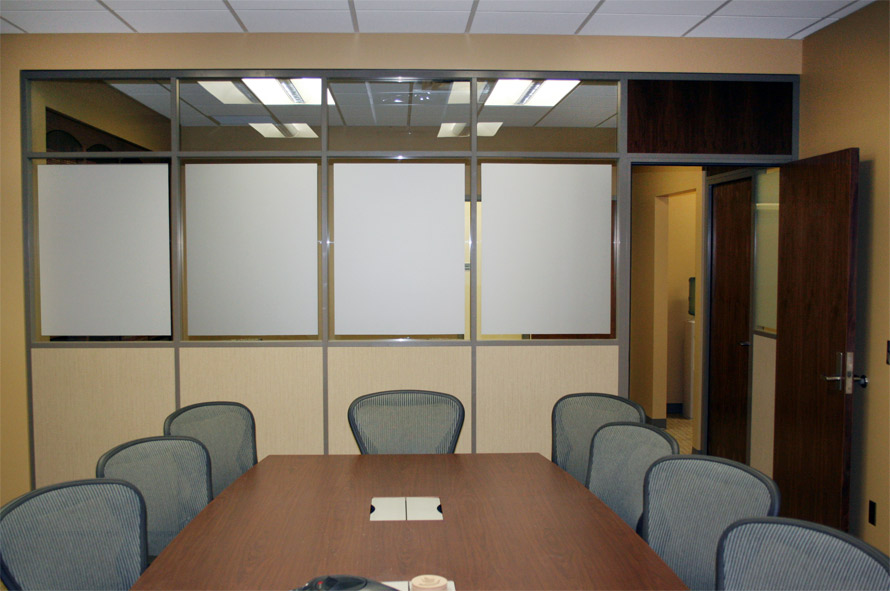 Conference room with privacy glass film and clerestory