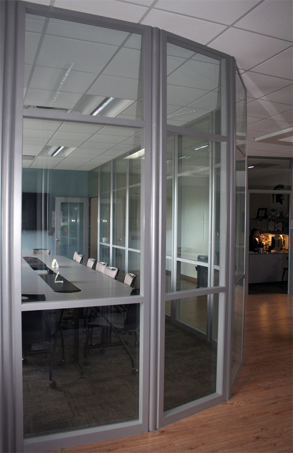 Flex office wall system demountable movable for Curved glass wall