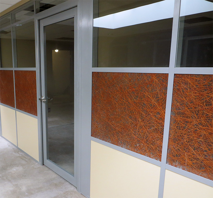 MSU offices with 3form custom pressed glass wall panels