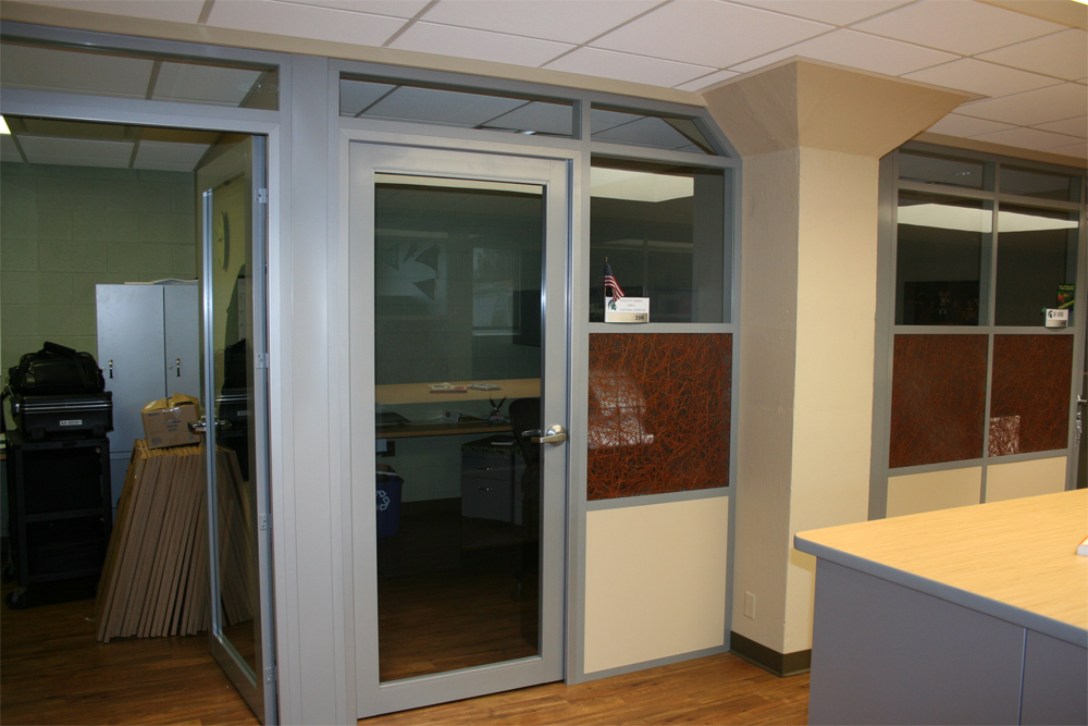 Flex series with swing aluminum doors with full lite glass inserts