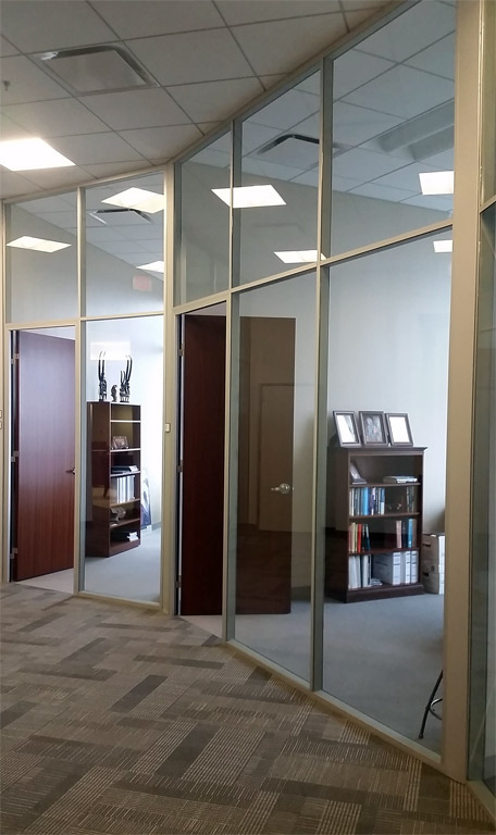 Glass office fronts in anodized finish