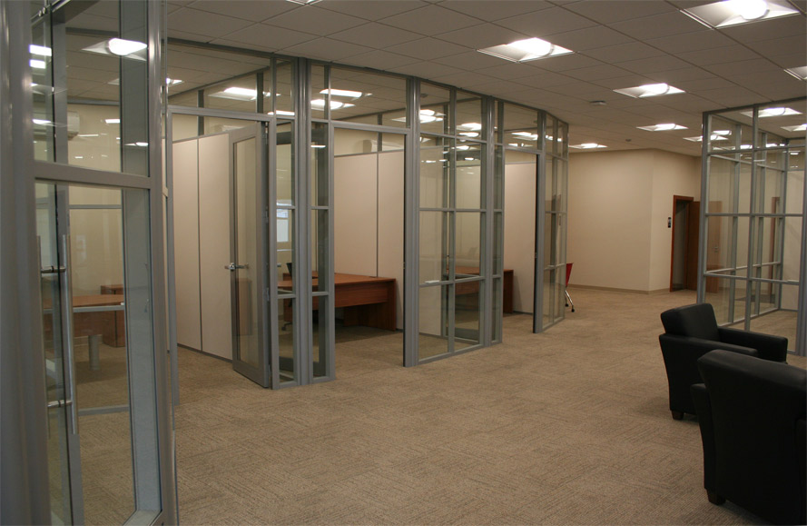 Glass office walls solid panel demising walls