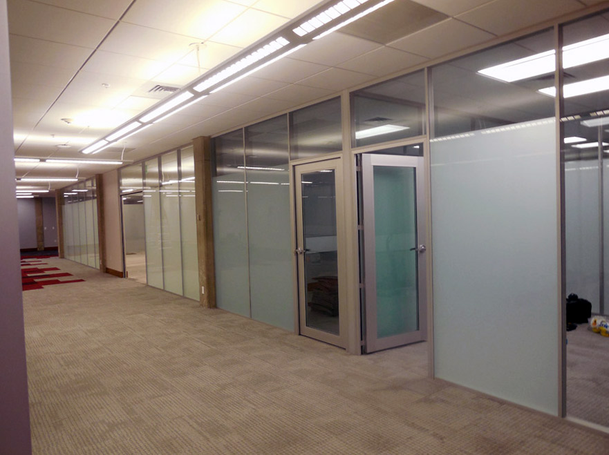 Glass wall with privacy film classroom application Flex Series wall system