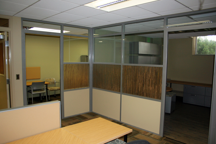 University offices with 3form designer pressed glass wall panels