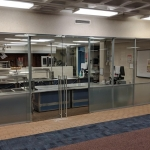 Cafeteria demountable walls frosted film glass with clear tempered glass