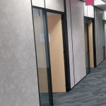 Corporate Office Wall Fronts - Black Framing and Vinyl Wrapped Gypsum Glass Sidelights