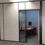 Corporate Solid Wall Panel Offices with Glass Sidelight