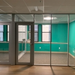 Corporate glass offices with aluminum frame doors
