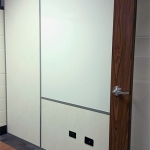 Demountable sidewall with power electrical and integrated whiteboard