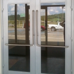 Double Swing Aluminum Framed Glass Door with Right-Angle Tubular Pulls