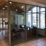 Full Height glass office walls financial institution installation