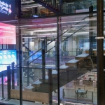 Flex Series retrofit freestanding atrium installation at Ford Field