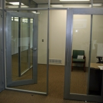 Sliding aluminum framed glass door