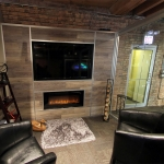Freestanding Flex Series Laminate Plank Wall with Integrated Media/Fireplace