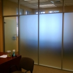 Frosted glass private offices with clear glass clerestory - Flex Series