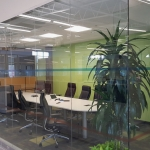 Glass Conference Room Walls with Open Corner and Power Channel