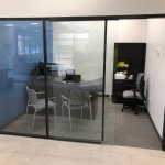 Glass offices financial institution installation full height glass