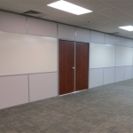 Integrated whiteboard wall with wood double doors - Flex Series