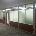 NxtWall solid base frosted film clear glass clerestory walls