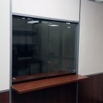 Sliding glass teller window with mounted transaction top