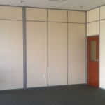 Office with Solid Walls and Wood Door with Glass Pane - Flex Series by NxtWall