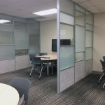 Demountable Semi-Private Divider Walls with Glass and Solid Panels - Flex Series University Installation
