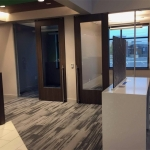 Wood frame glass door offices financial institution installation - Flex Series