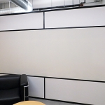 Black wall trim freestanding office with whiteboard wall