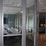 Curved glass wall conference room