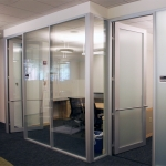 Flex Series - Glass Office Fronts with Frosted Glazing in Anodized Finish