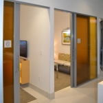 Flex modern office glass fronts with custom color film