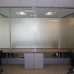 Flex series architectural walls with privacy film
