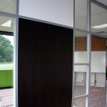 Flex series corner office with veneer solid wood panel and glass