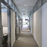Flex series demountable wall office system with glass clerestory