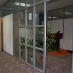Mixed panel double glazed office walls with glass clerestory