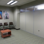 University waiting room wall with electrical and clerestory