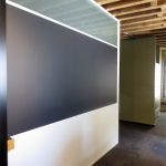 Flex Series wall with integrated chalkboard and white aluminum extrusions