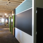 Frosted Glass Clerestory Integrated Chalkboard Wall with White Aluminum Trim