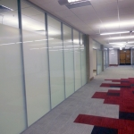 Frosted glass classroom walls - University