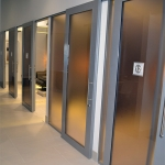 Metal framed sliding glass door healthcare installation
