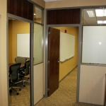 Movable walls for higher education - privacy glass and veneers