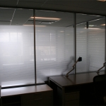 Striped glass film for privacy on Flex series walls