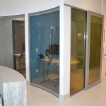 View series glass walls (left) Flex series sliding door (right)