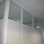 Conference room with clerestory and white aluminum extrusions and glazing bead